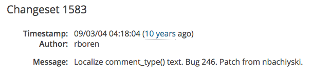 Screenshot of the commit message